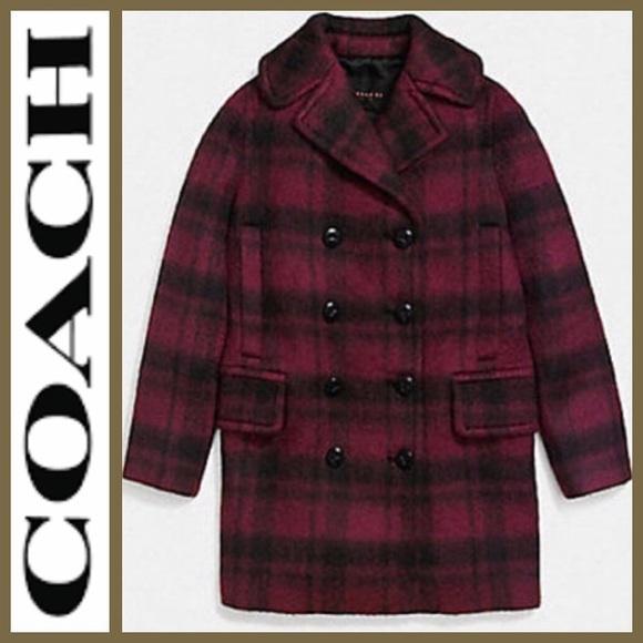 04ee9538c9e NWT  COACH  Plaid Cranberry Classy Wool Coat M